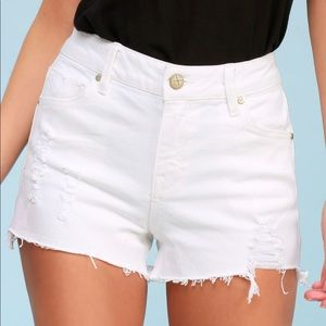 Lulus high-waisted white denim shorts